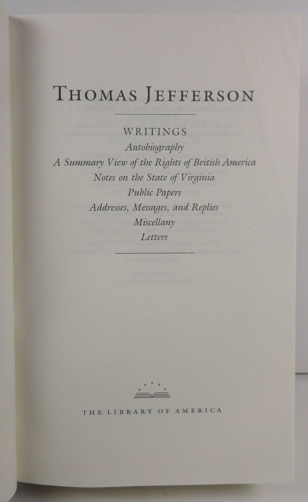 Thomas Jefferson Writings 1984 Library of America