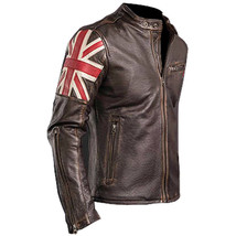 UK Flag Cafe Racer Men Vintage Brown Real Leather Jacket - $179.99