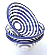 Moroccan Hand Painted Small Ceramic Blue Striped Safi Bowls Set of 3 - $329,52 MXN