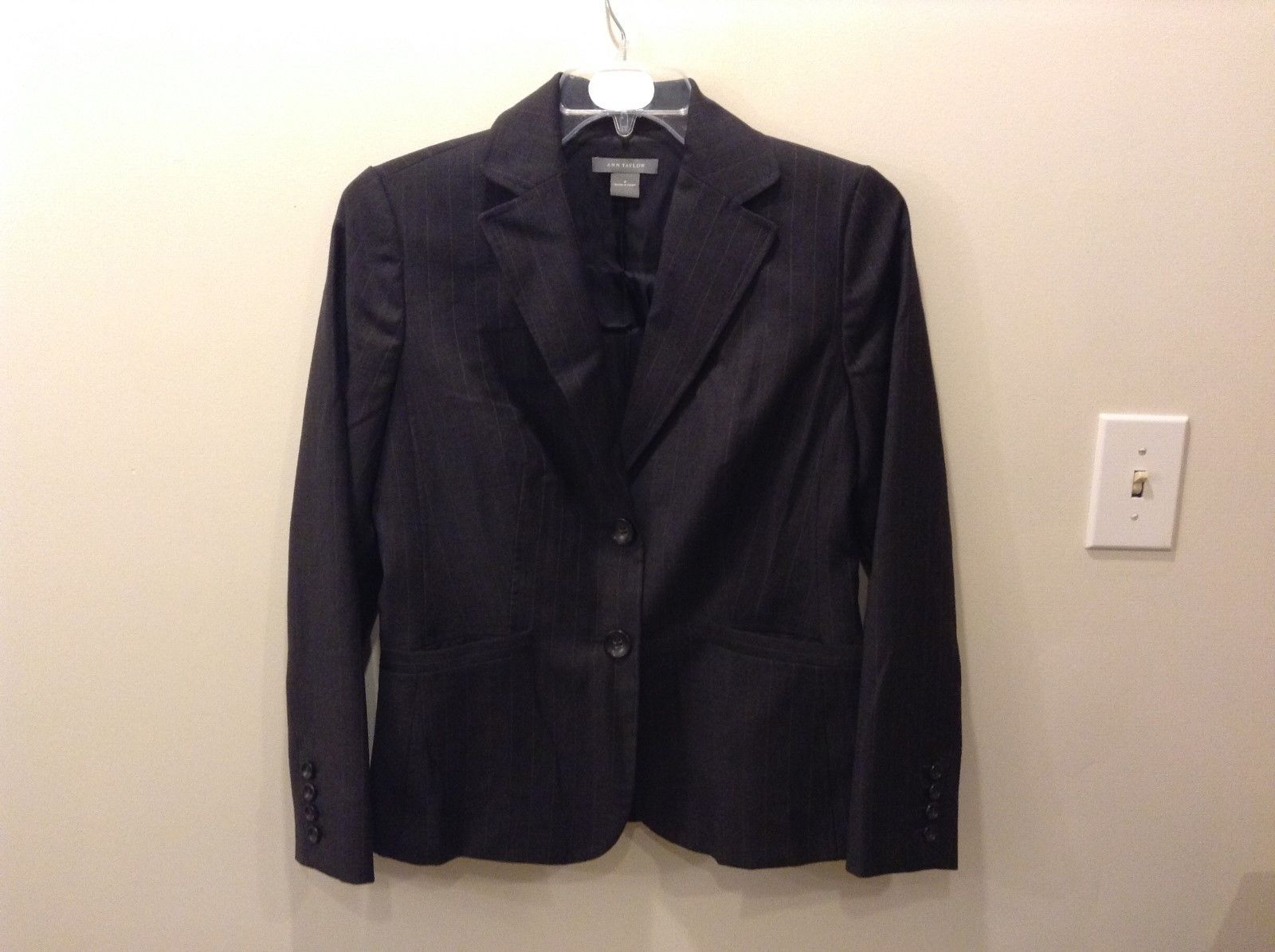 Ann Taylor Dark Gray Blazer w/ Purple Vertical Stripes Size 8