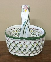 Andrea by Sadek Ceramic Floral Basket by Jay Willfred Portugal Green & W... - $13.99
