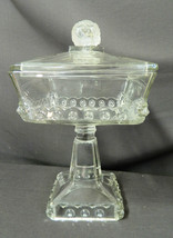 EAPG Fostoria Atlanta, Square Lion Large Covered Compote, 1895 - $113.64