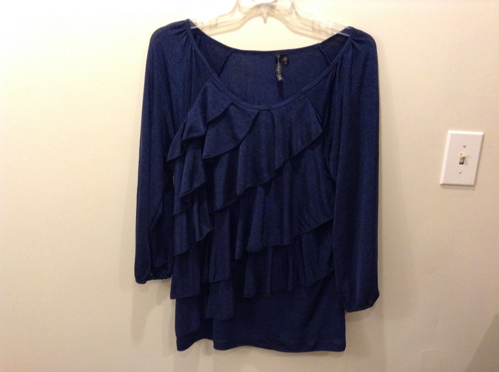 Allie & Rob Shimmery Ruffled Navy Blue Blouse Size XL