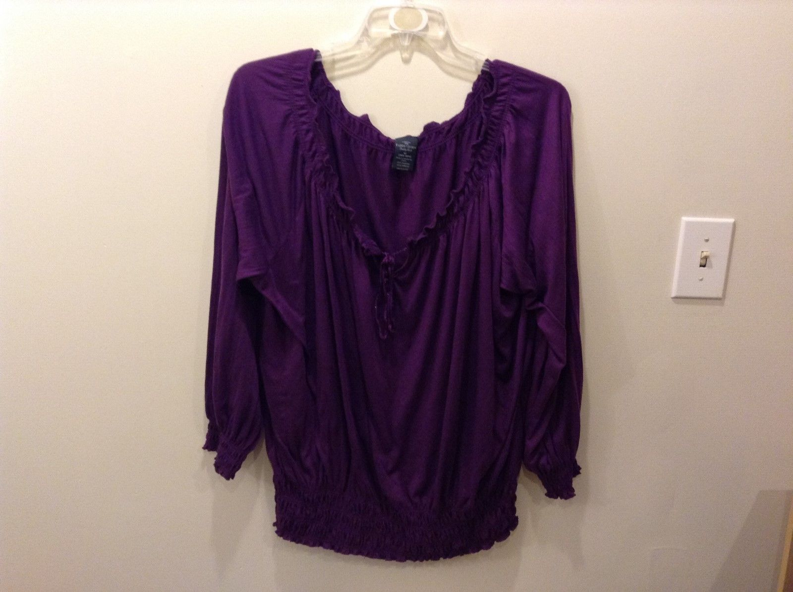Faded Glory 100% Polyester Purple Blouse Size 4X 26W/28W