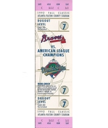 1992 World Series Game 7 Full Game Ticket, NR - $27.26