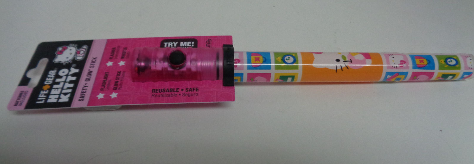 Hello Kitty Life Gear Safety Glow Stick Flashlight Whistle Strobe NWT 3 settings