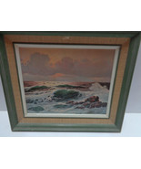 LITHO PRINT Vintage JON ATWOOD Sea Foam Ocean View w Clouds - $24.99