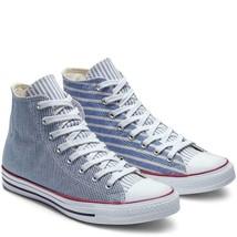Converse Mismatched Varied RR Stripes Denim Blue White High Top Shoes Men's NEW - $59.99