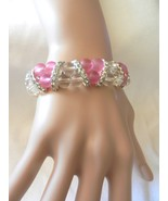 New Exquisite Ladies'  Charming Frosted Pink Beads Stretch Rhinestones B... - $4.99
