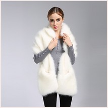 Ivory Faux Fur Mink Stole Collared Cape Wrap With Front Pockets image 2