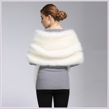 Ivory Faux Fur Mink Stole Collared Cape Wrap With Front Pockets image 3
