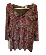 WOMAN'S Laura Ashley Vintage Paisley Black, Maroon with Gold Embellished Top 2X - $4.00