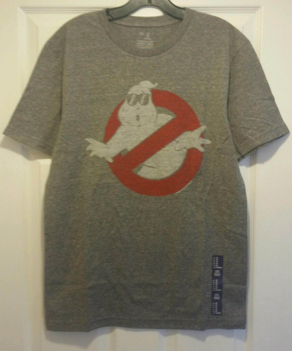 New ghostbusters no ghosts slimer distressed logo adult for Adult medium t shirt