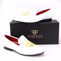 Handmade FERUCCI Men White Velvet Slippers loafers with Crown - $149.99