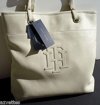 New! Rare $188 Ivory Genuine Leather [Tommy Hilfiger] Large Tote Handbag - $186.12