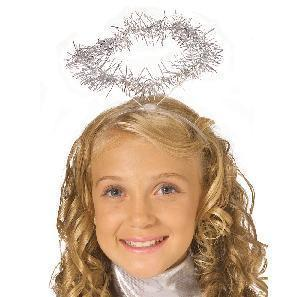 ANGEL HALO WITH SILVER TINSEL TRIM ADULTS & CHILDREN one siz