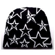 NEW PUNK ROCK WINTER SKI SNOWBOARDING HAT CAP ~ BLACK & WHITE STARS BEAN... - $5.96 CAD