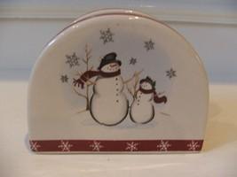 Napkin Holder by Royal Seasons Stoneware Snowmen Christmas Holiday EUC - $12.86