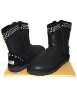 UGG Australia Bowen Classic Short Boots sze 8 Studs Swarovski Black Leather $250 - $148.49