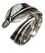 STERLING SILVER ADJUSTABLE WRAP FEATHER RING WITH SYNTHETIC WHITE OPAL T... - $39.99