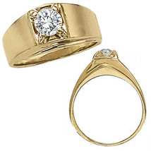 1 Carat G-H Diamond Designer Solitaire Mens Man Wedding Ring 14K Yellow ... - $1,796.89