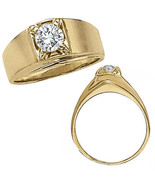 1 Carat G-H Diamond Designer Solitaire Mens Man Wedding Ring 14K Yellow ... - $1,796.89