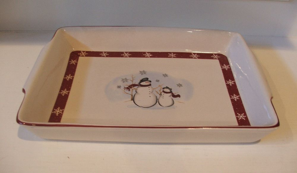 Rectangular Baking Dish by Royal Seasons Stoneware Snowmen Christmas Holiday EUC - $16.78