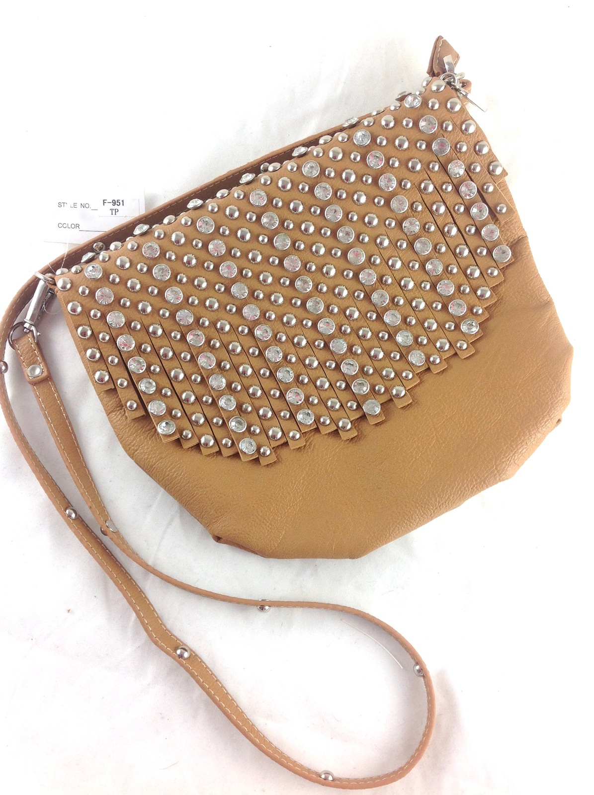 Designer Inspired Tan Fringed Cross Body Bag w/ Crystals & Studs
