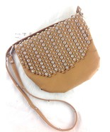 Designer Inspired Tan Fringed Cross Body Bag w/ Crystals & Studs - $29.99