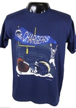 VTG 90s SAN DIEGO CHARGERS Embroidered T-SHIRT Large Blue Made In USA 19... - $18.68