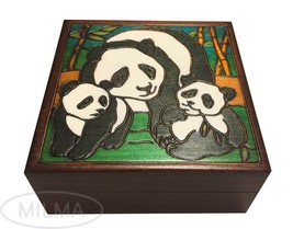 Panda Wooden Box Polish Handmade Panda Family Keepsake Kids/Adult Jewelr... - €27,85 EUR