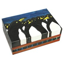 Penguins Wooden Box Polish Handmade Linden Wood Keepsake Kids Adult Jewe... - €28,72 EUR