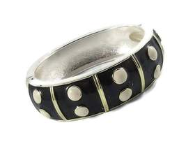 Vintage Chunky Enamel Black with White Polka Dots Bracelet - $22.00