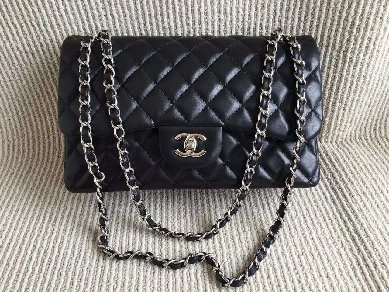 4ab74dba8d91bb Authentic Chanel Jumbo Double Flap Black Lambskin Silver Hardware ...