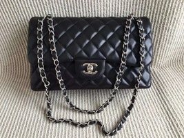 Authentic Chanel Jumbo Double Flap Black Lambskin Silver Hardware Bag