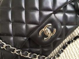 Authentic Chanel Jumbo Double Flap Black Lambskin Silver Hardware Bag image 7