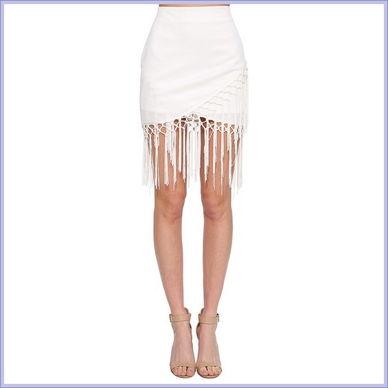 White High Waisted Long Tasseled Tied Hem With Zip Up Back Pencil Mini Skirt