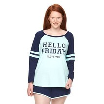 "New Womens Plus Size 3X Hello Friday I Love You 2PC ""Sporty"" Pajamas Pajama Set - $21.28"