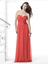 Dessy 2832....Full length, Strapless Chiffon Dress....Firecracker....Sz 18 - $69.29
