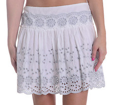 36/2 NEW See by Chloe Anglaise Cotton Poplin Skirt White Grey Eyelet Emb... - $292.05