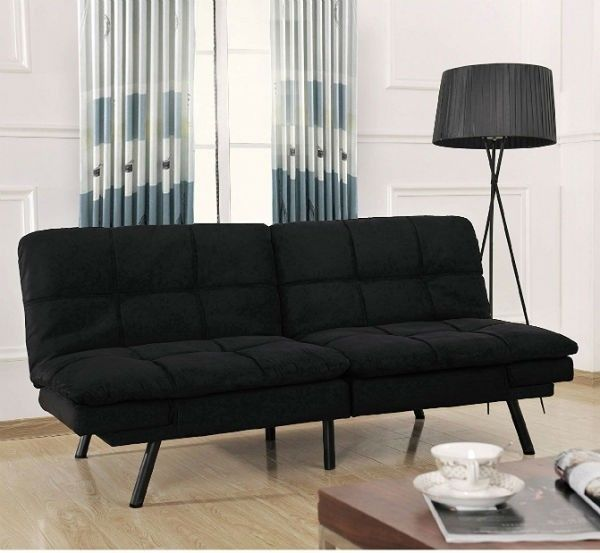 Black futon sofa bed couch foam mattress convertible for Foam convertible sofa bed