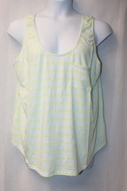 Cool New Womens Plus Size 3X Neon Yellow Striped Zip Up Back In Blue Tank Top - $11.55