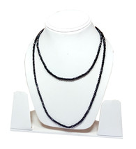 "Natural Black Spinel 3-4mm rondelle faceted beads 18"" beaded Choker necklace - $12.30"