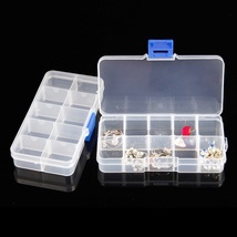 50 x Plastic 10 Compartment Clear Slots Adjustable Organizer Nails Gems ... - $121.63