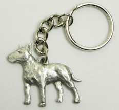 Bull Terrier Dog Keychain Keyring Harris Pewter Made USA Key Chain Ring - $9.48