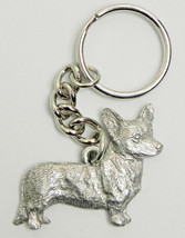 Corgi Cardigan Dog Keychain Keyring Harris Pewter Made USA Key Chain Ring - $9.48