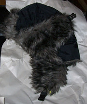 Faux Fur Lining Aviator Bomber Trooper Trapper Winter W/Ear Flaps Hat Black/Gray image 2