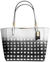 Coach Madison East/west Tote in Gingham Saffiano Leather White/ Black - $441.00