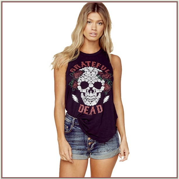 Sleeveless Black Skull & Roses Backless Vintage Dead Rock Band Tee Shirt