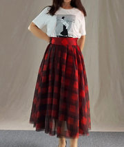 Womens Red Plaid Skirt Long Tulle Plaid Skirt - Red Check,High Waist, Plus Size image 1